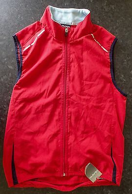 Mens Avanti cycling packable wind vest Small red reflective high-viz NEW