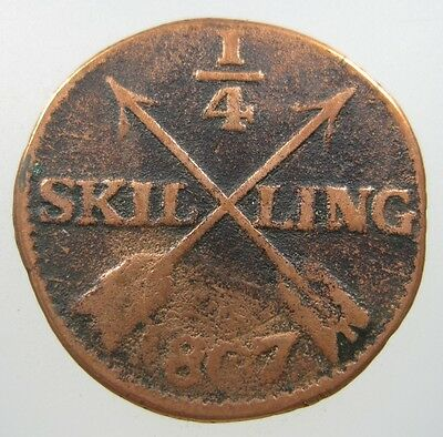 Sweden 1/4 Skilling 1807 Copper #b Swedish Crossed Arrows World Coin