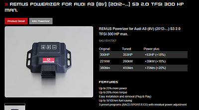 REMUS POWERIZER Plug and Play Tuning box for AUDI S3 8V MANUAL