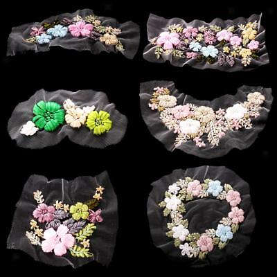 Ribbons Embroidery Floral Flower Sewing Applique Patches for Clothes Dress Decor