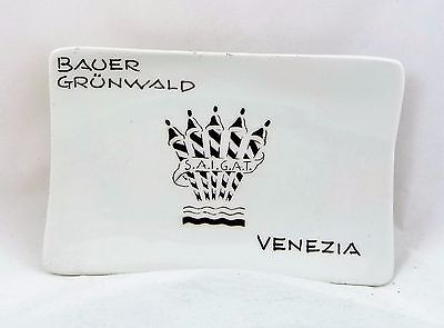 Vintage Bauer Grunwald Hotel Glass Ashtray 5 Star Hotel Venezia Italy