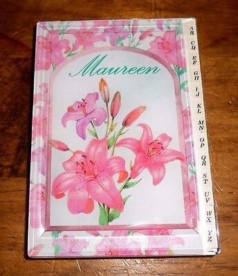 "Vintage RUSS Hard shell Acrylic cover Address Book Named ""Maureen"" FAST SHIP!!!"