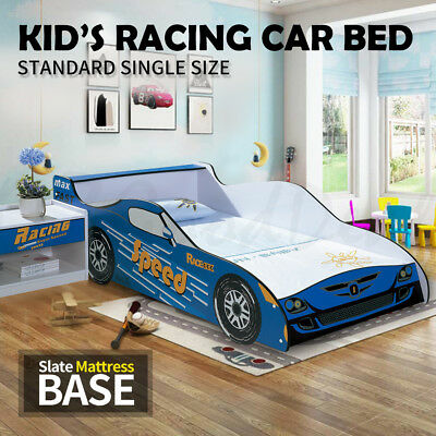 Kids Toddler Children Boys Single Size Racing Car Bed Timber Slate Blue 4020B