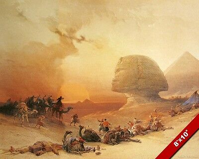 The Great Sphinx & Pyramids Of Egypt At Sunset Painting Art Real Canvas Print