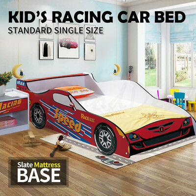 Kids Toddler Children Boy Girl Single Size Racing Car Bed Timber Slate Red 4020R