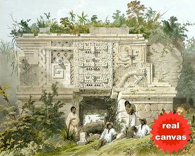 Mayan City Glyph Ruins In Uxmal Mexico Catherwood Painting Art Real Canvas Print