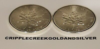 2014 1 oz Silver Maple Leaf $5 Canadian coin 99.99 percent pure RCM - LOT OF 2