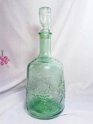 vintage USSR Soviet Glass Decanter Decorated with a Bunches of Grapes