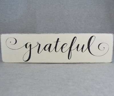 Inspirational Grateful Rustic Wood Sign, Antique White & Black | Farmhouse Style