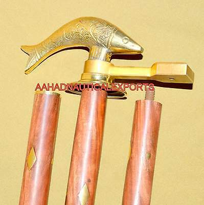 Brass Fish Head Pipe Vintage Style Wooden Walking Stick Cane Handle