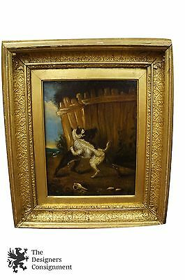 Early 19th Century Oil Painting on Board Two Old Dogs Fighting Near Fence Framed