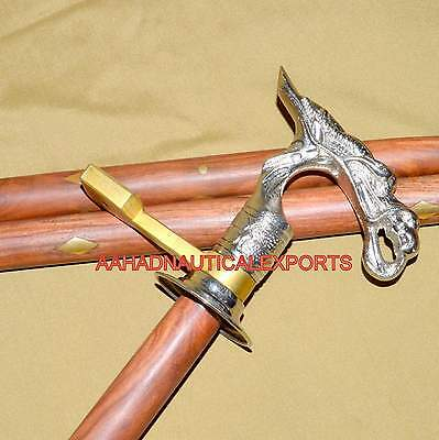 Original Vintage Wooden Walking Stick Cane With Brass Colored Dragon Head Handle