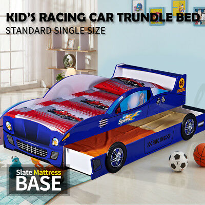 Kids Toddler Children Boys Single Trundle Racing Car Bed Timber Slate Blue 4023B