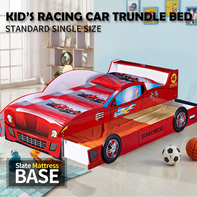 Kids Toddler Children Boys Single Pull Out Trundle Racing Car Bed Red 4023R