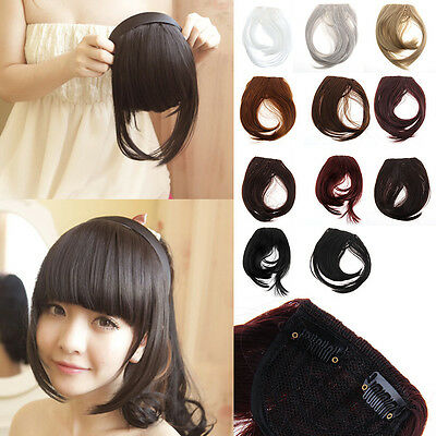 UK Real Thick Straight Bang Clip in on Fringe Hair Extensions 2Clips Hairpiece