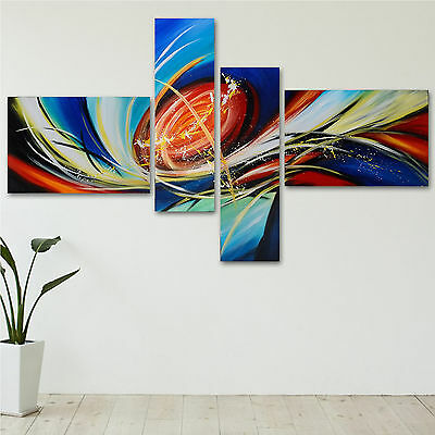 Colorful Space Hand Painted Wall Art 4 Piece Oil Painting Wooden Back Framed Set