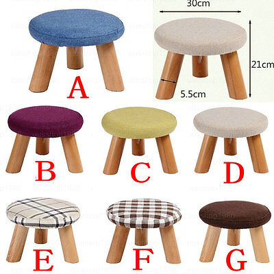 Kids Childrens Childs Wooden Round Stool Chair Footstool Footrest Ottoman Pouffe