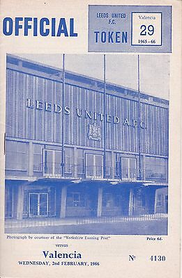 LEEDS UNITED v VALENCIA ~ FAIRS CUP ~ 2 FEBRUARY 1966 ~ SUPERB CONDIITON