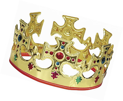 Queens Gold Plastic or Crown Novelty Majestic King Kid Children Dressing Up Toy