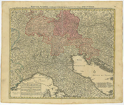 Antique Map-DANUBE-ITALY-SWITZERLAND-GERMANY-AUSTRIA-Homann Heirs-c. 1730