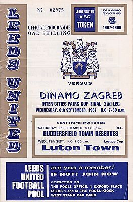 LEEDS UNITED v DINAMO ZAGRED ~ FAIRS CUP FINAL 2ND LEG  ~ 6 SEPTEMBER 1967