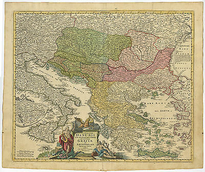 Antique Map-GREECE-DANUBE-BALKANS-TURKEY-CRETE-Homann Heirs-c. 1720