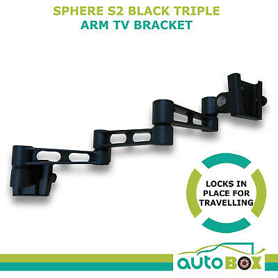 Sphere S2 Black Triple Arm TV Bracket Wall Mount Caravan Motorhome suit Onyx LCD