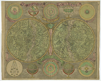 Antique Map-CELESTIAL CHART-PLANETS-ARMILLARY SPHERE-GLOBE-Lotter-c. 1770