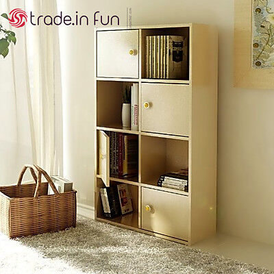 Bookshelf With Doors Living Room Storage Cabinet 8 Cube Organizer Shelf Bookcase