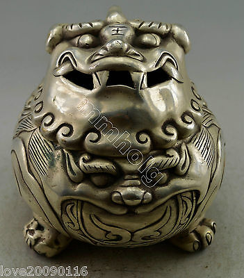 Collectible Decorated Old Miao Silver Handwork Carved Dragon Incense Burner Rare