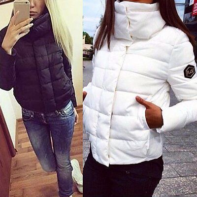 Ladies Winter Women's Down Jacket Coat Hooded High Collar Short Outerwear AU