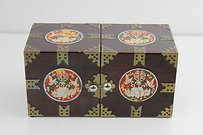 Chinese Vintage 4 Drawers  Lacquer and Mother of Pearl Jewellery Box