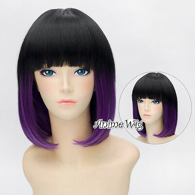 Short 30CM Black Mixed Purple Lolita Fashion Harajuku BOBO Cosplay Wig + Wig Cap