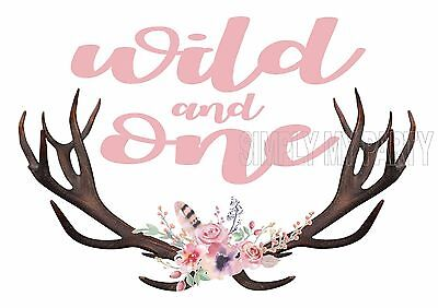 IRON ON TRANSFER / STICKER -  WILD AND ONE ANTLERS BOHO 1ST BIRTHDAY pink flower
