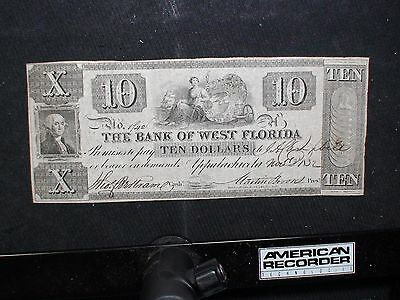 Ten Dollar Obsolete Note THE BANK OF WEST FLORIDA $10 BILL PRICED TO SELL NOW!