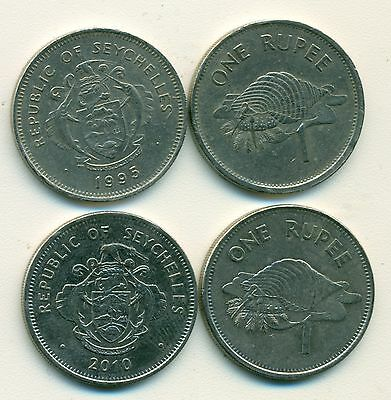 2 DIFFERENT 1 RUPEE COINS from SEYCHELLES - 1995 & 2010 (2 TYPES)