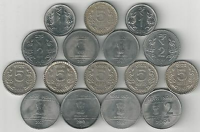 16 DIFFERENT 1, 2 & 5 RUPEE COINS from INDIA (6 TYPES)
