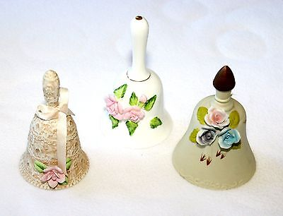 Rose Bells Lot of 3 Collectible Ceramic Porcelain Vintage Floral Lace