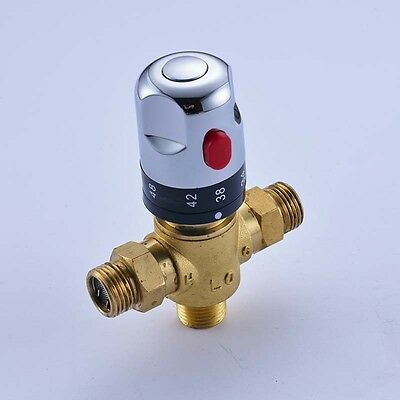 Temperature Thermostatic Mixing Valve Solar Water Heater Valve Chrome Brass