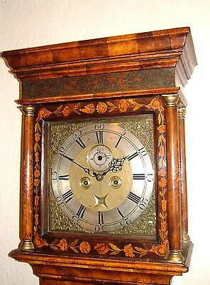A fine Georgian Burr Walnut & Floral marquetry Longcase Grandfather Clock C1760