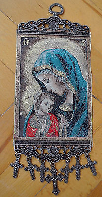 Holy Mother Mary Madonna and Jesus Tapestry Wall Hanging With Crosses Crucifixes
