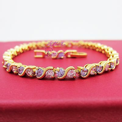 Women Girl Ladies Real Solid 9K Yellow Gold GF Tennis Bracelet Simulated Diamond