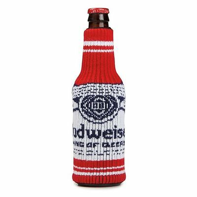 Budweiser Bottle Sweater Red (1) MultiSize Coozie Beer Koozie Knit FREE SHIPPING