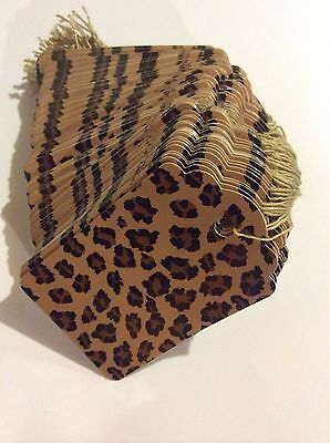 """100 2x3 1/4"""" Leopard print price tags with string"""