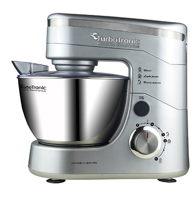 TurboTronic 1200W Food Stand Mixer - 5L Stainless Steel Mixing Bowl SILVER