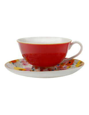 NEW Cashmere Bloems Tea Cup & Saucer, Gift Boxed, 200ml - Red & White