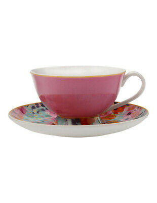 NEW Cashmere Bloems Tea Cup & Saucer, Gift Boxed, 200ml - Pink & Blue