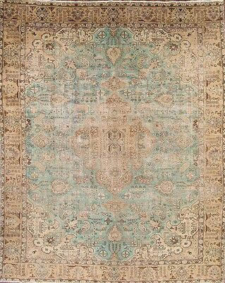 Breathtaking Antique Turquoise Geometric 10x13 Tabriz Persian Oriental Area Rug