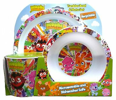 Moshi Monsters Plate Bowl & Tumbler Set 3 Piece Dinner Breakfast Set Dining Set