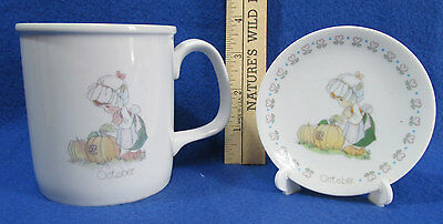 Precious Moments October Birthday Mug Cup 1987 & Mini Month Plate 1989 Lot of 2